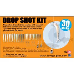 Savage Gear Dying minnow drop shot pro sortiment, 30 stk.