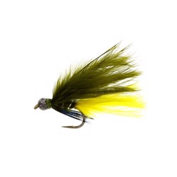 Unique Flies Marabou thing ye/olive, put & take flue